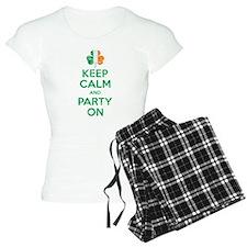 Keep Calm And Party On Irish Flag Shamrock Pajamas