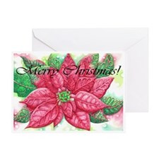 Merry Christmas Poinsettia Greeting Card
