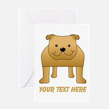 Red Bulldog, Custom Text. Greeting Card