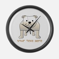 Bulldog and Text. Large Wall Clock