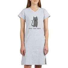 Dark Gray Cat and Text. Women's Nightshirt