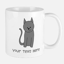 Dark Gray Cat and Text. Mug