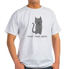Dark Gray Cat and Text. T-Shirt
