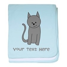 Dark Gray Cat and Text. baby blanket