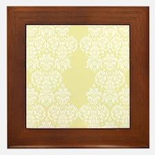 Yellow Damask Framed Tile
