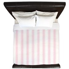 Shabby Pink White Stripes King Duvet