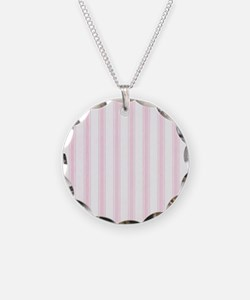 Shabby Pink White Stripes Necklace