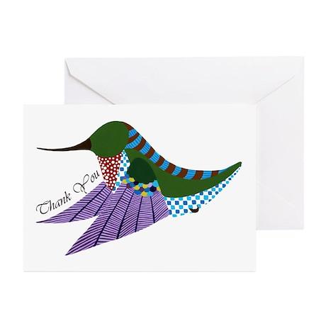 Ruby Hummingbird Thank You Greeting Cards (pk 10)
