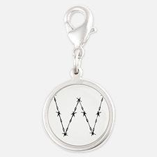 Barbed Wire Monogram W Silver Round Charm