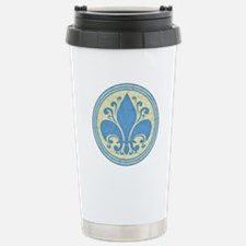 Fleur de Lis -Blue Stainless Steel Travel Mug