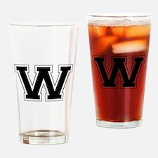 Collegiate Monogram W Drinking Glass