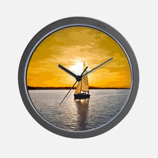 Sailing into the sunset Wall Clock