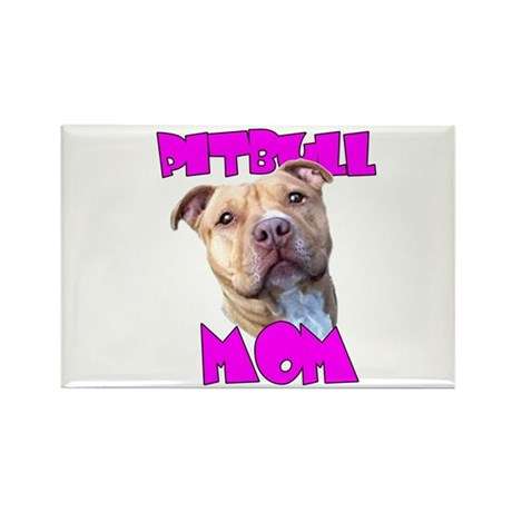 Pitbull Mom Rectangle Magnet (10 pack)