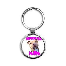 Pitbull Mom Round Keychain