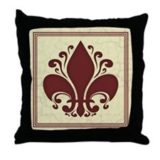 Fleur de Lis -Red Throw Pillow