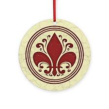 Fleur de Lis -Red Ornament (Round)