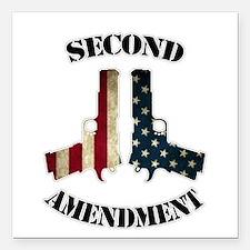 """Second Amendment Square Car Magnet 3"""" x 3"""""""
