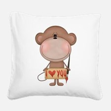 I love you- monkey Square Canvas Pillow