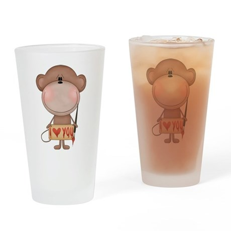 I love you- monkey Drinking Glass