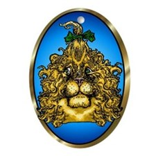 The Cowardly Lion Blue Oval Ornament