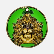 The Cowardly Lion Green Round Ornament