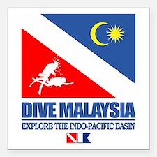 "Dive Malaysia Square Car Magnet 3"" x 3"""
