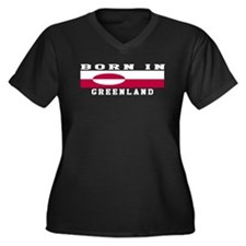 Born In Greenland Women's Plus Size V-Neck Dark T-
