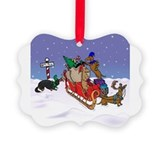 Terry pond dachshund christmas Picture Frame Ornaments