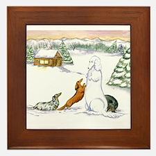 Cute Dapple dachshund Framed Tile
