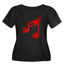 Red Eighth Notes Plus Size T-Shirt