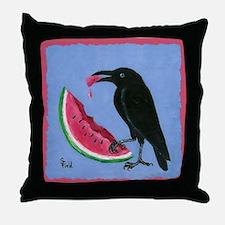Crow & Watermelon Throw Pillow