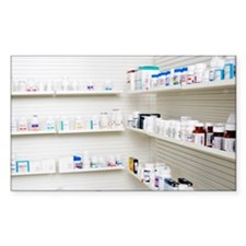 Shelves of medication in pharm Decal