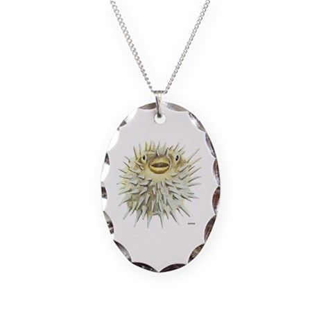 Puffer Fish Necklace Oval Charm