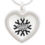Melanoma Cancer Sucks Silver Heart Necklace