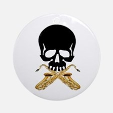 Skull with Saxophones Ornament (Round)