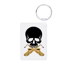 Skull with Saxophones Keychains