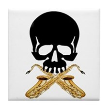 Skull with Saxophones Tile Coaster