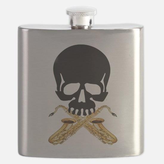 Skull with Saxophones Flask