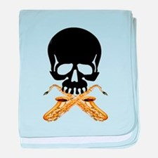 Skull with Saxophones baby blanket