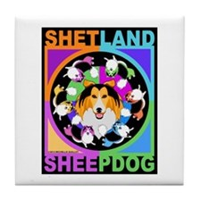 Sheltie Dog Breed Graphics Tile Coaster