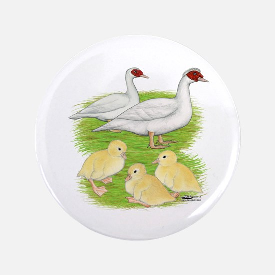Duck White Muscovy Family Button