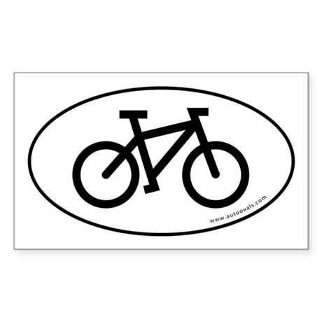 Bicycle (cycling) Auto Decal -White (Oval) Sticker