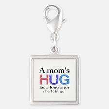 A Moms Hug Silver Square Charm