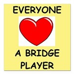 duplicate bridge Square Car Magnet 3