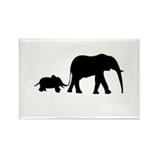 Elephant Motif Mother and child Rectangle Magnet (