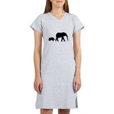 Elephant Motif Mother and child Women's Nightshirt