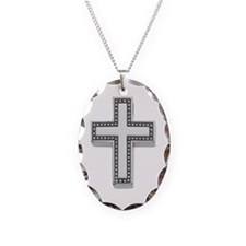 Silver Cross/Christian Necklace Oval Charm