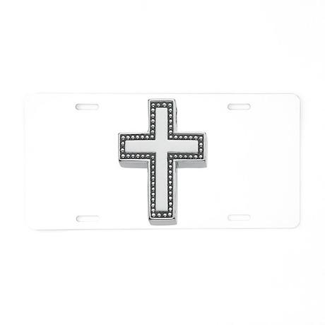 Silver Cross/Christian Aluminum License Plate