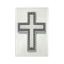 Silver Cross/Christian Rectangle Magnet