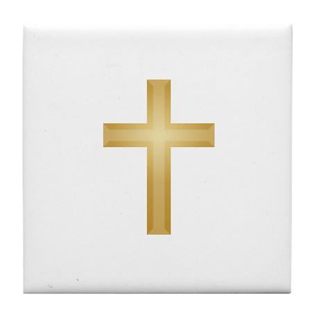 Gold Cross/Christian Tile Coaster